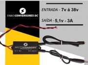 AU 19 (2 saídas - microUSB e USB femea) - Conversor DC/DC 12 ou 24V para 5V-3A MICRO USB  e USB femea