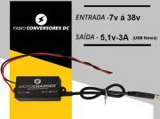 AU 21 - Conversor DC/DC 12V ou 24V para 5V-3A USB fêmea