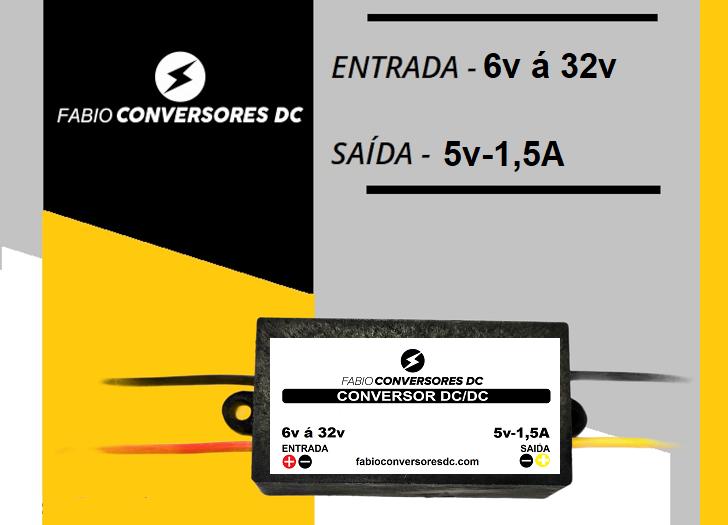 AU 01 (1,5A) - Conversor DC/DC 12V - 24v para 5V - 1,5A