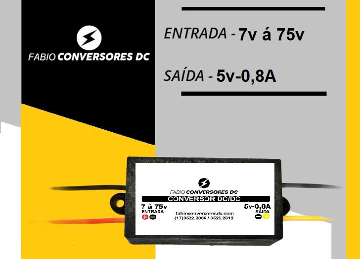 AU 03 (0,8A) - Conversor DC/DC 7V á 75v para 5V-0,8A