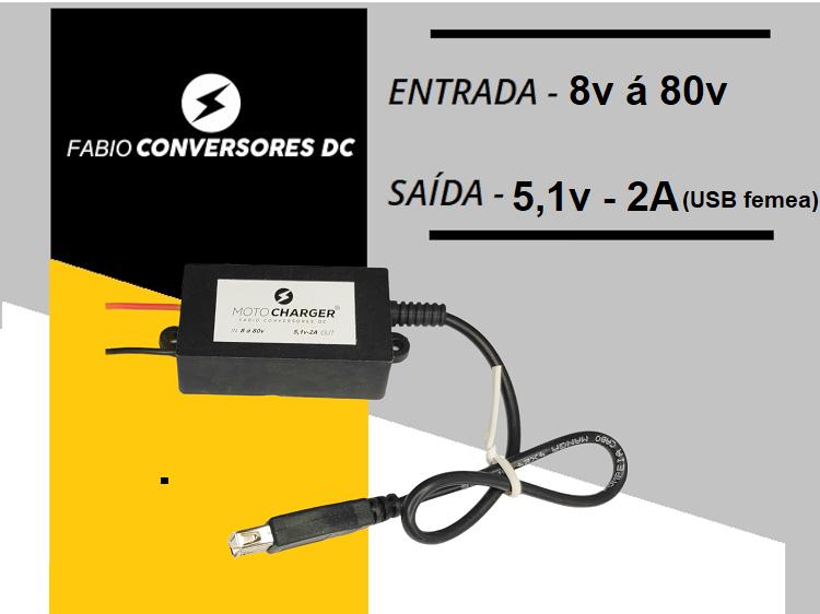 AU 03 (8-80v) - Conversor DC/DC de 8VDC á 80vDC  para 5V-2A - USB fêmea Unversal