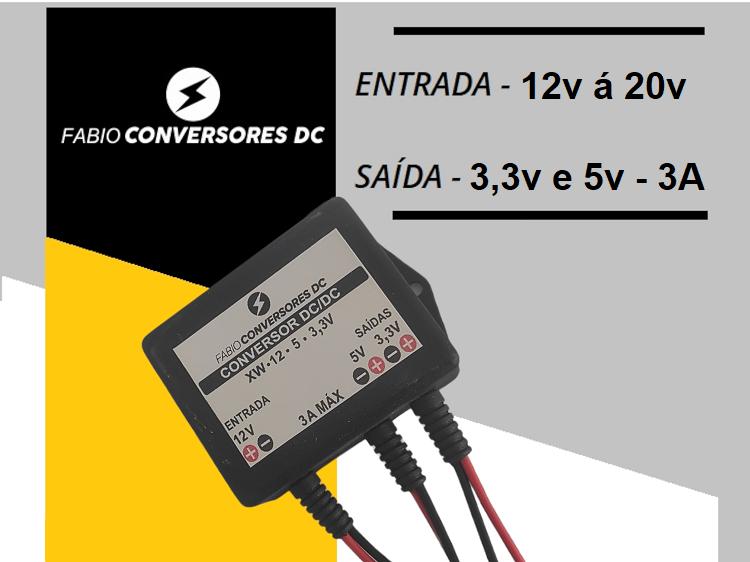 AU 04 - Conversor DC/DC de 12V ou 24v para 5V-3A e 3,3V-3A