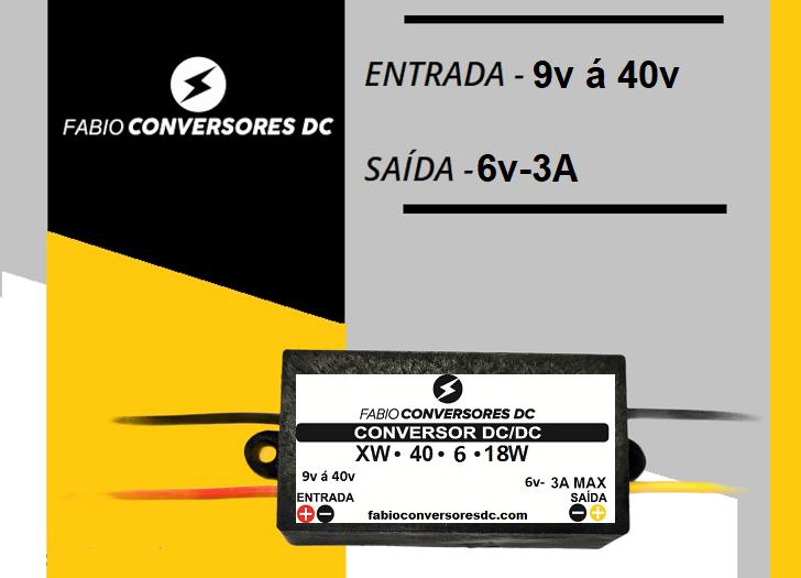 AU 06 - CONVERSOR DC/DC DE 12V ou 24V PARA 6V-3A