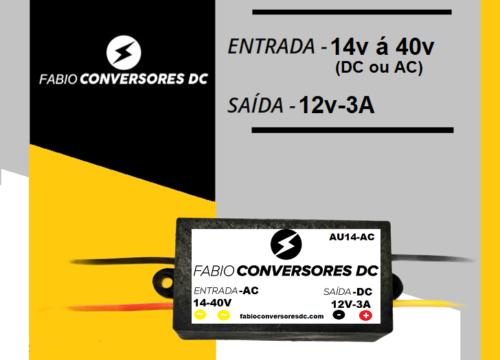 AU 14 AC - Conversor AC/DC 24V para 12V-3A