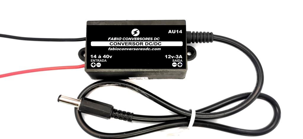 AU 14-(P4) - Conversor DC/DC 24V para 12V-3A com conector P4 macho 5,5x2,1mm