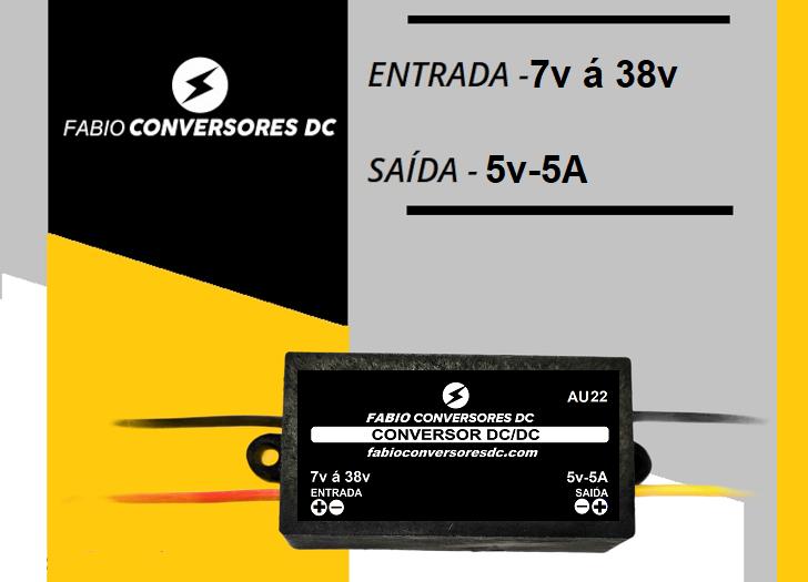 AU 22 - Conversor DC/DC 9V - 12V - 24V - 36V para 5V (5A)