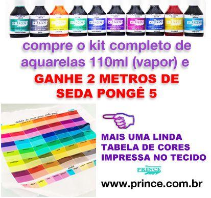 Kit completo de aquarelas (vapor 56 cores) 110ml: Compre e Ganhe 2,0M DE SEDA PONGE 5 + UMA TABELA DE CORES IMPRESSA NO TECIDO