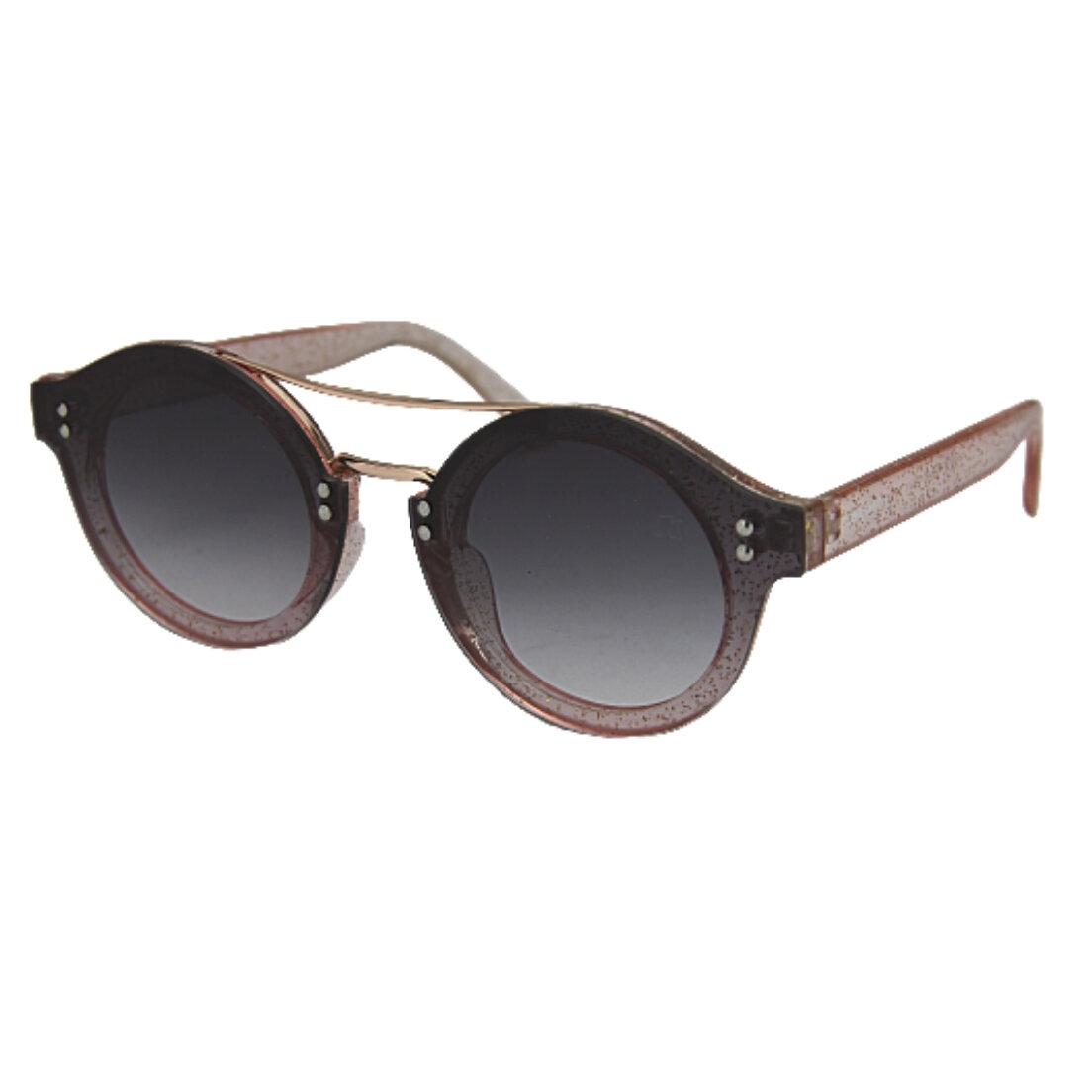 OUTLET - Óculos de Sol Khatto Round Glitter - Preto e Rosê