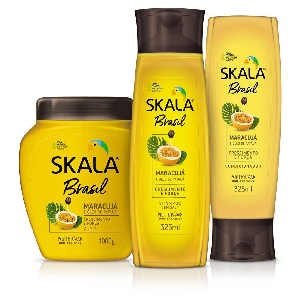 Kit Shampoo, Creme de Tratamento e Condicionador- Linha Maracujá e Óleo de Patauá