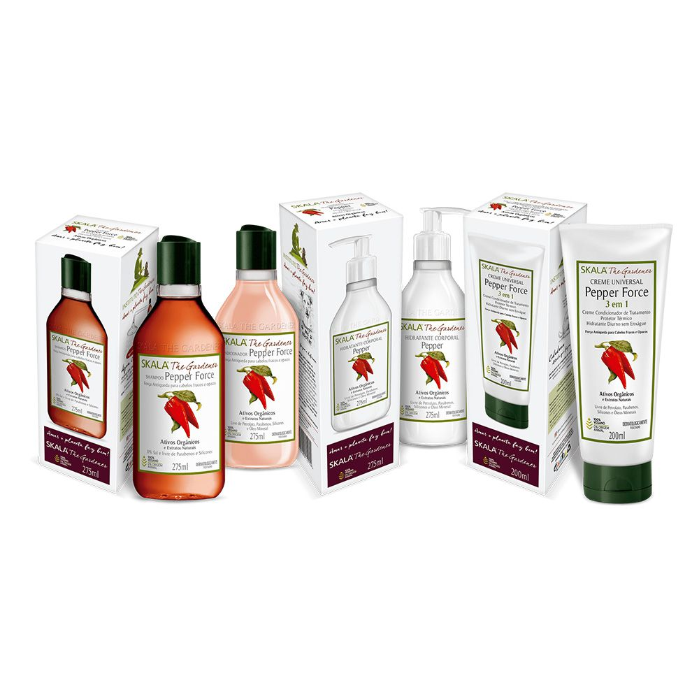 Kit Shampoo, condicionador, hidratante e máscara Pepper Force