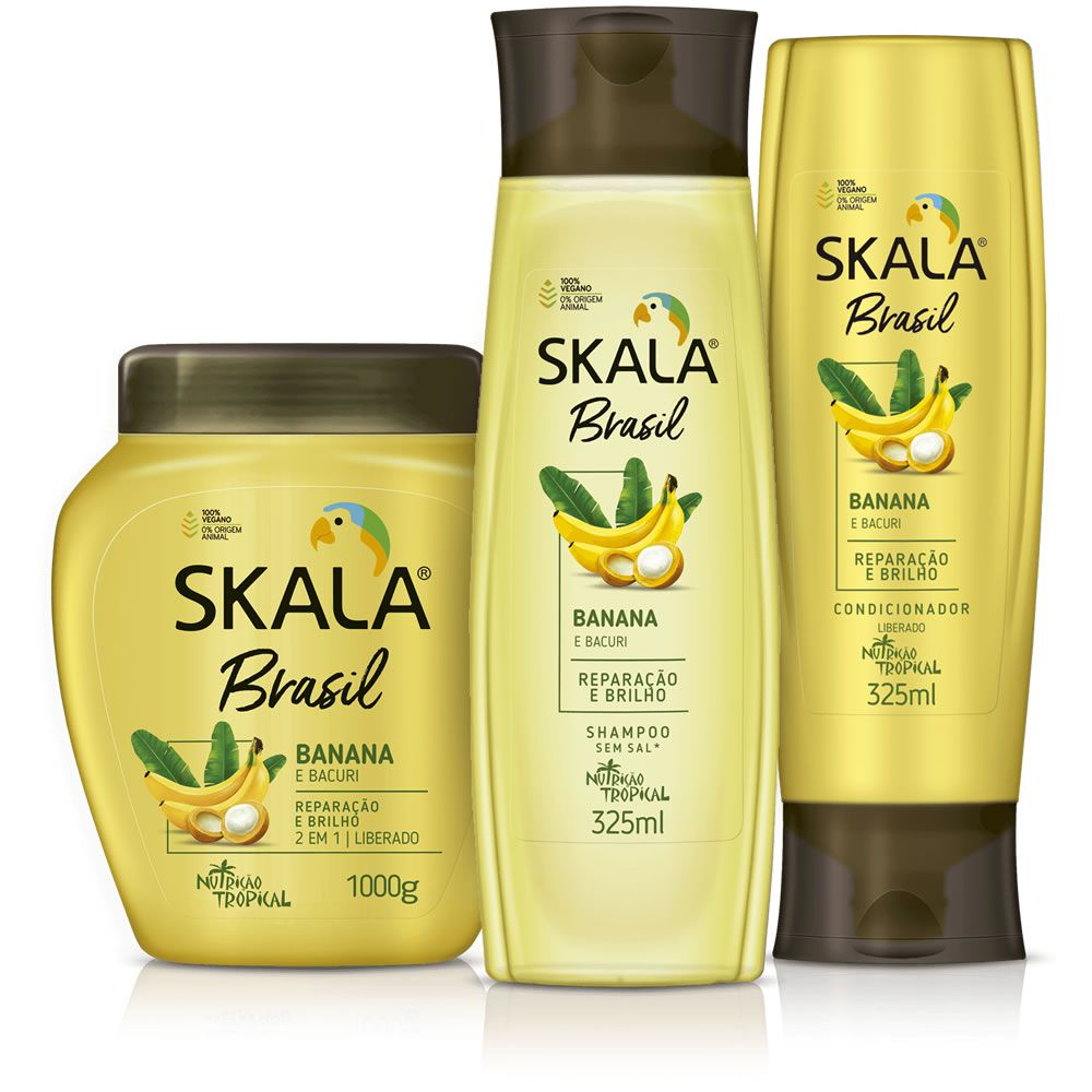 Kit Shampoo, Creme de Tratamento e Condicionador - Linha Banana e Bacuri