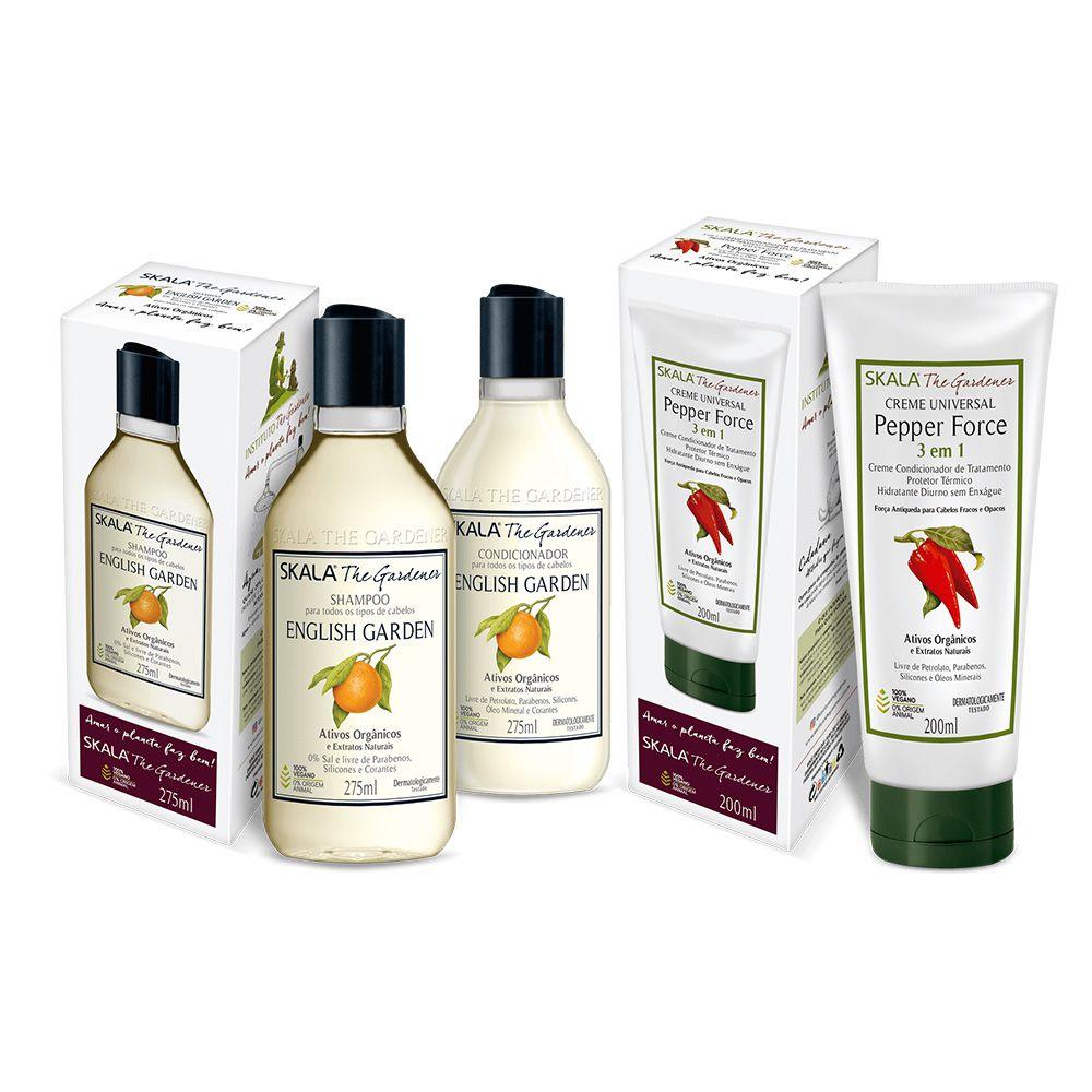 Kit Shampoo e condicionador English Garden + máscara Pepper Force