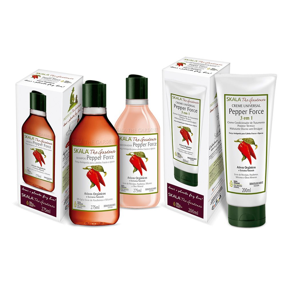 Kit Shampoo e condicionador Pepper Force + máscara Pepper Force