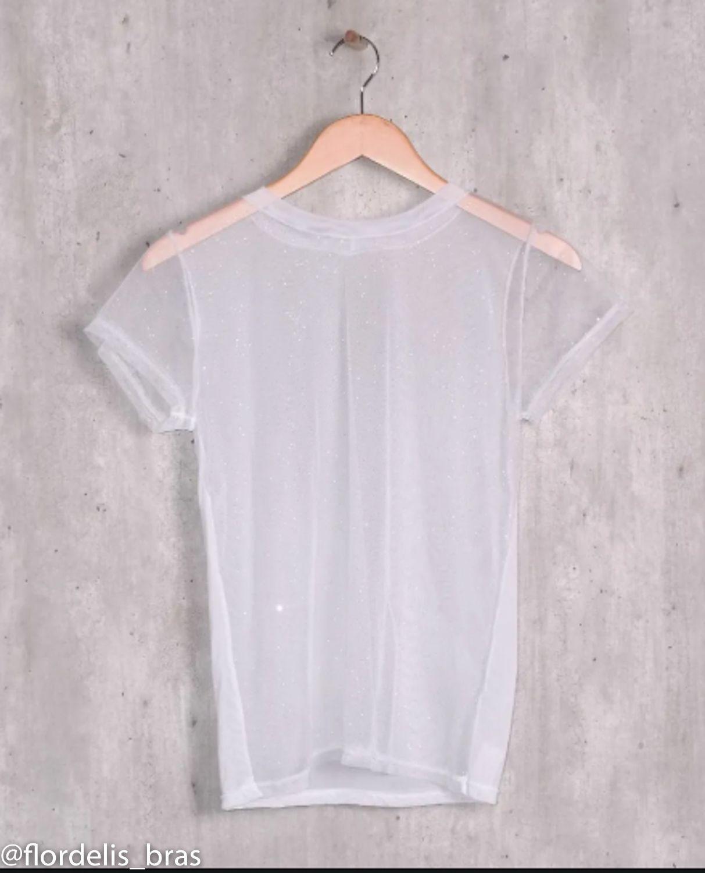 Blusa Camiseta Tule Transparente Manga Curta