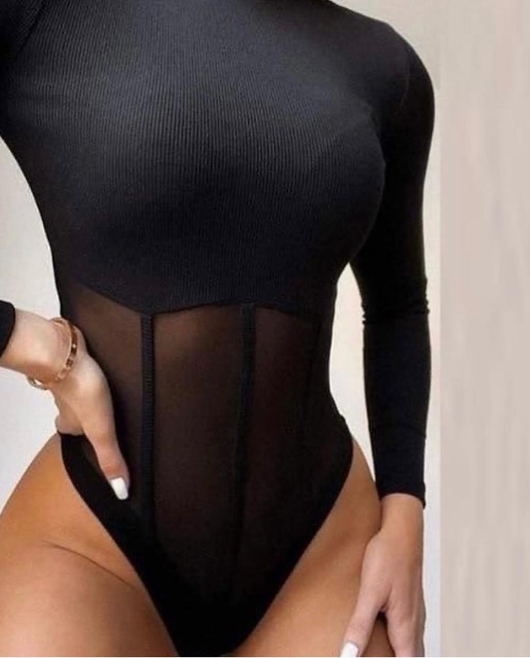 Body Manga Longa Canelado com Tule