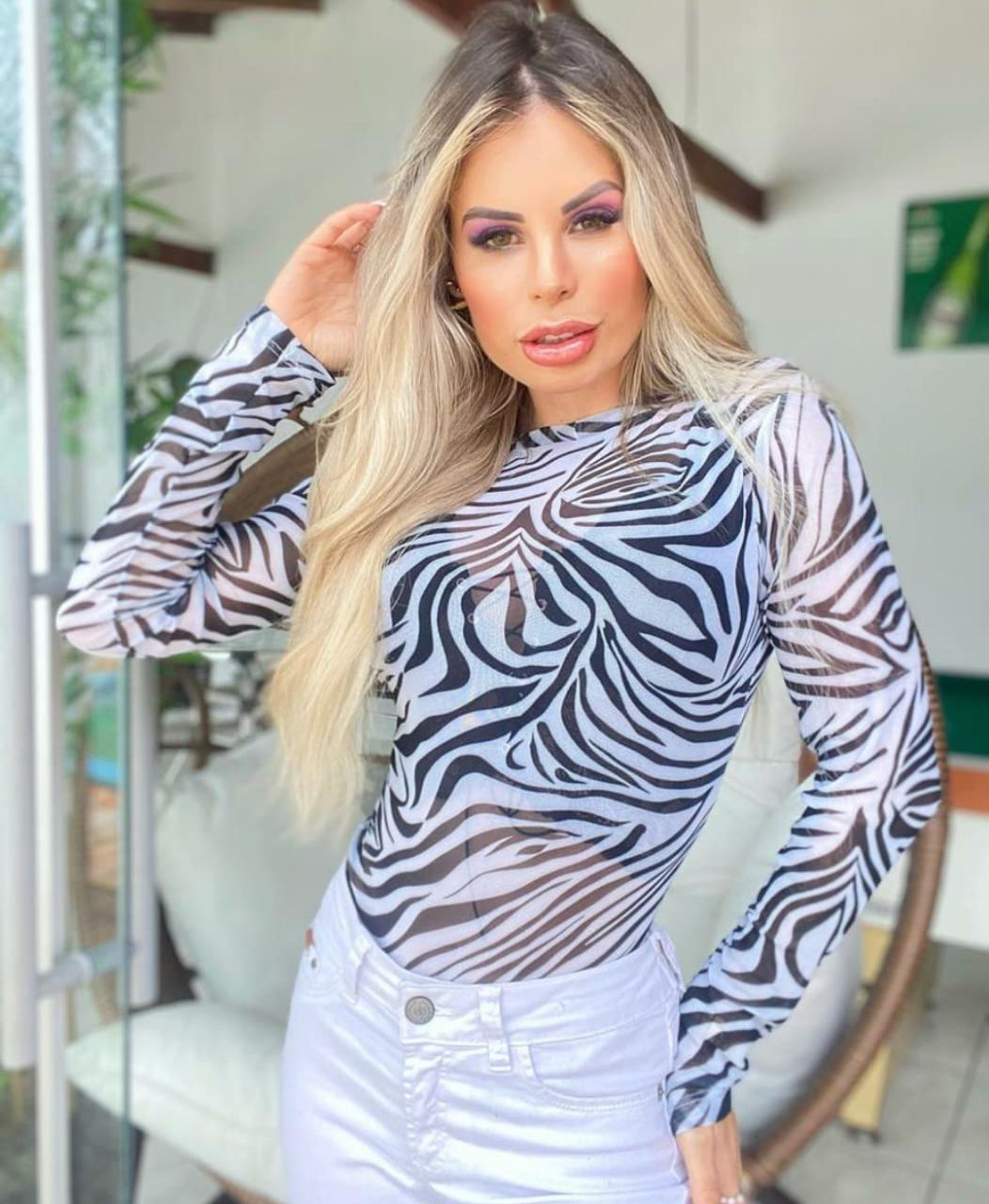 Body Manga Longa Zebra em Tule