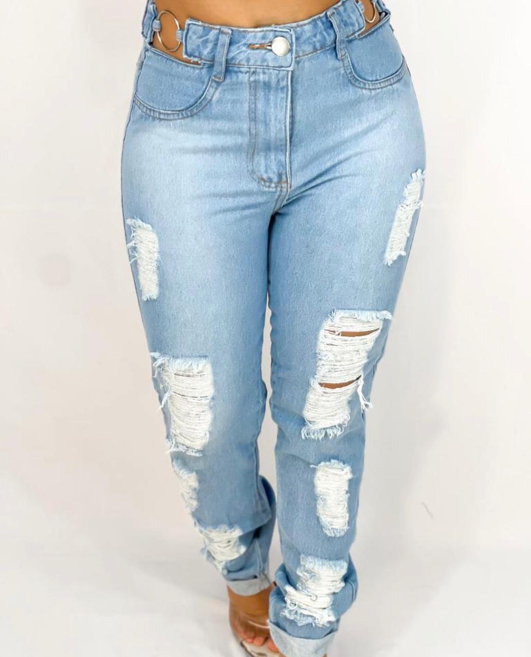 Calça Jeans Mom Customizada