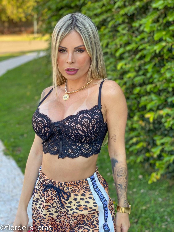 Cropped Renda Flor com Bojo Nude