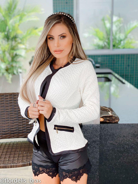 Jaquetinha Bomber Feminina Jacquard Casaco Blazer