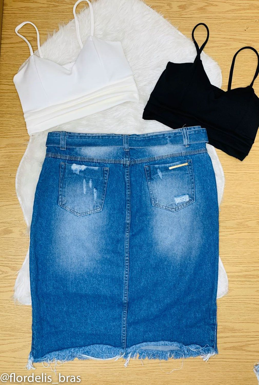 Saia Jeans Longa com Zipper