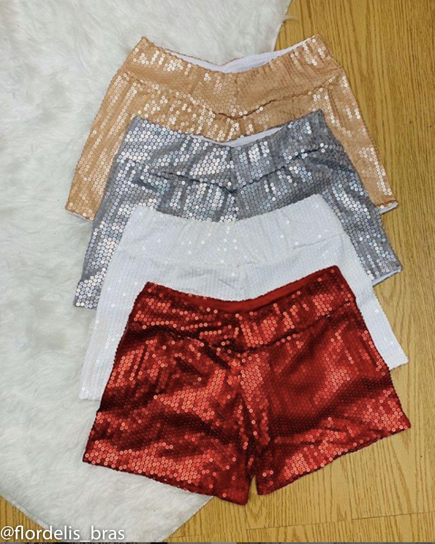 Shorts Cintura alta com Paetê Brilhoso e sem Bolso