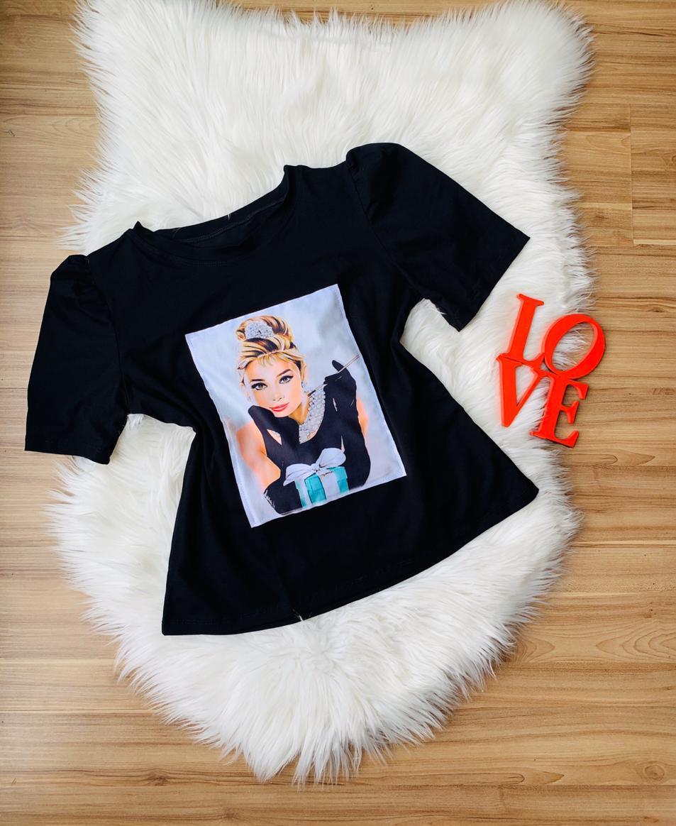 T-shirt Estampada com Manga Bufante