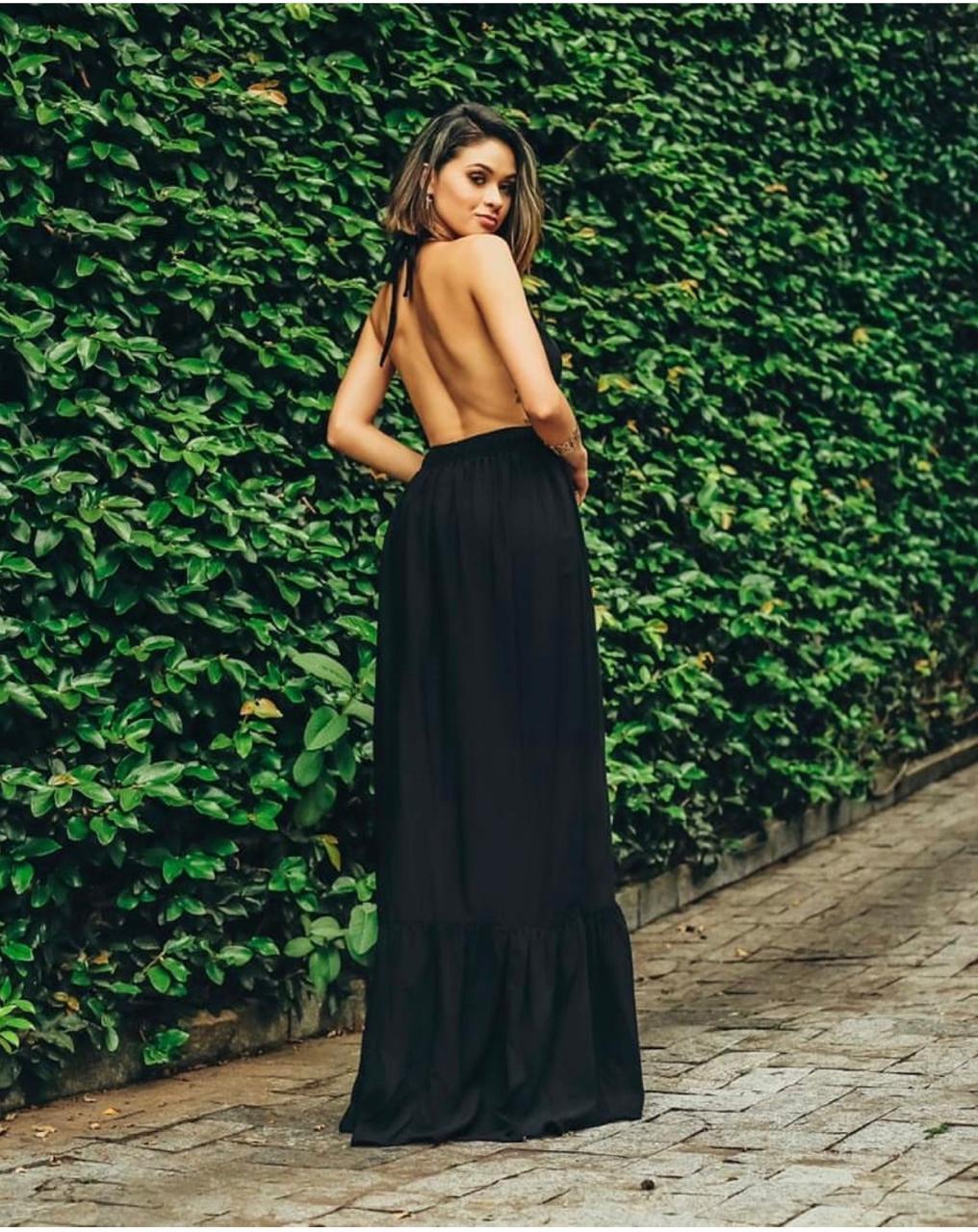Vestido Longo com Fenda Frontal