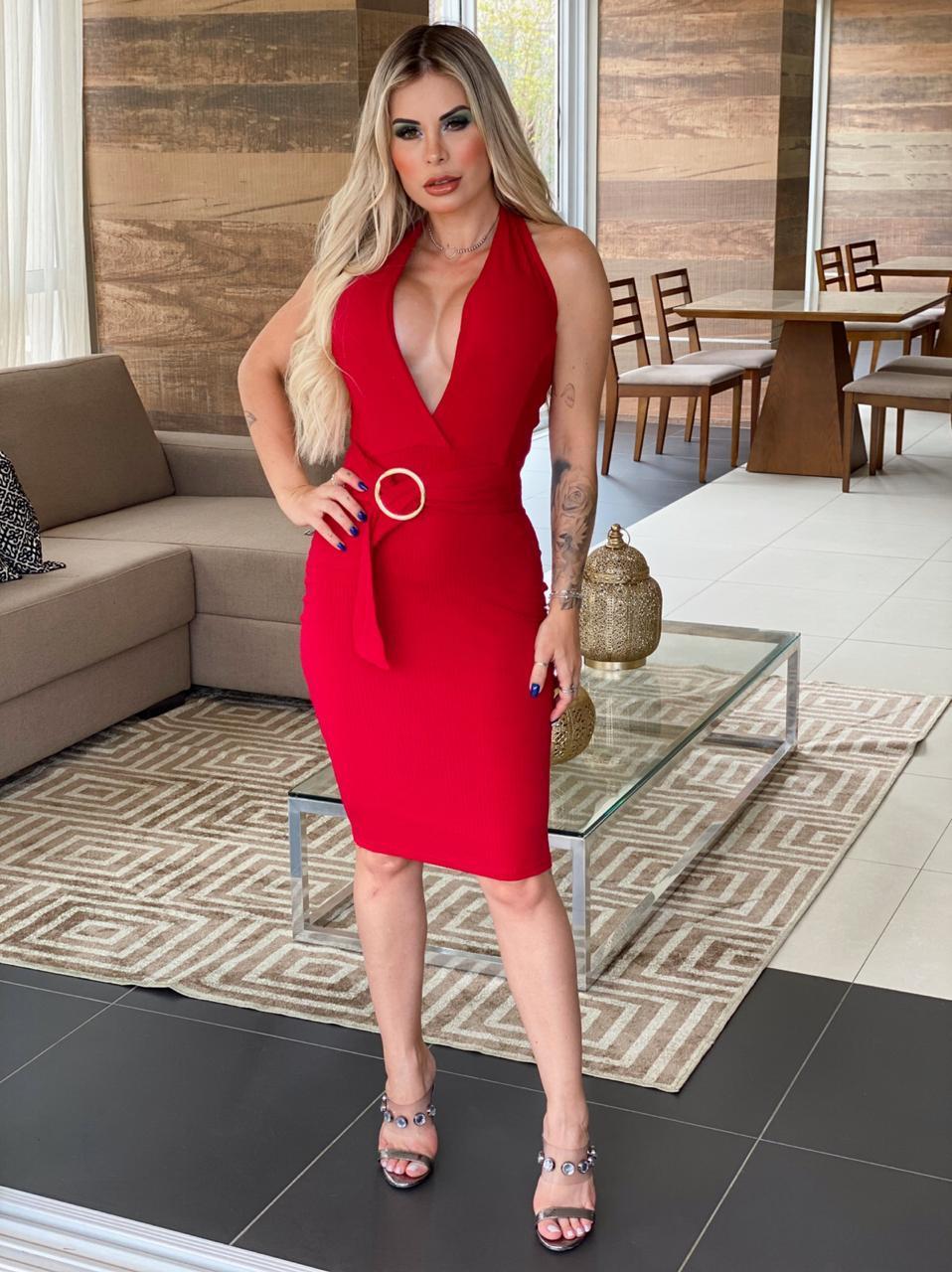 Vestido Midi Luxo com Decote