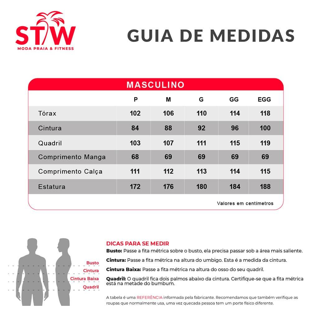 tabela de medidas masculino