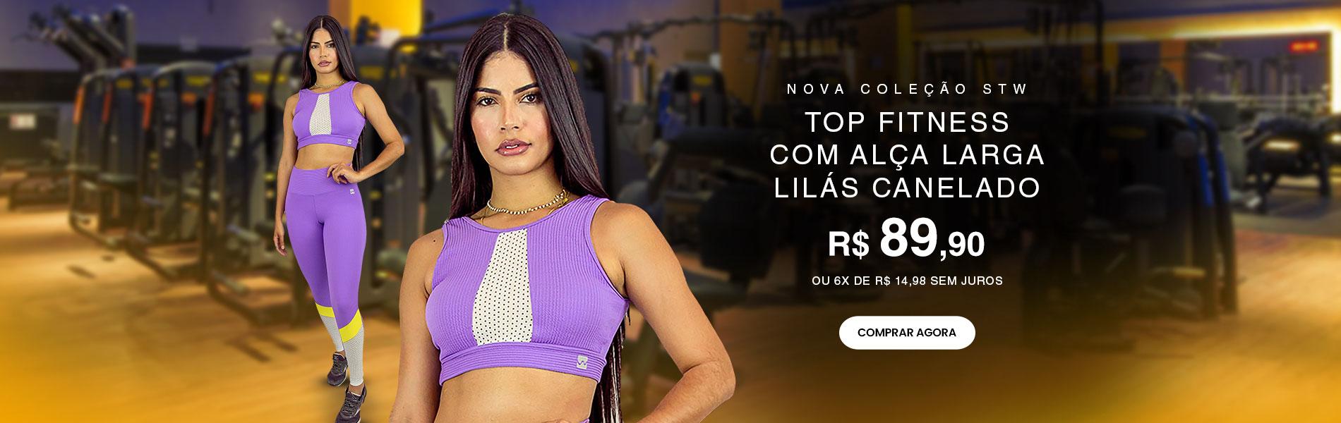 TOP FITNESS COM ALÇA LARGA LILAS CANELADO  DESTAQUE LANÇAMENTO