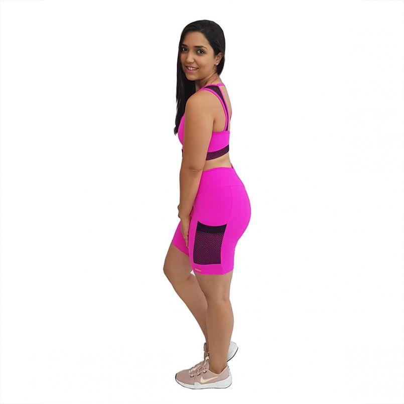 Bermuda Supplex Pink Tela Preta