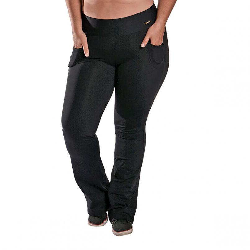 Calça Bailarina Plus Size Bolso New Zealand Preto
