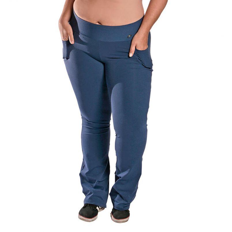 Calça Bailarina Plus Size Bolso Suplex Azul Marinho