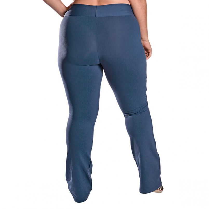Calça Bailarina Plus Size Bolso Supplex Azul Marinho