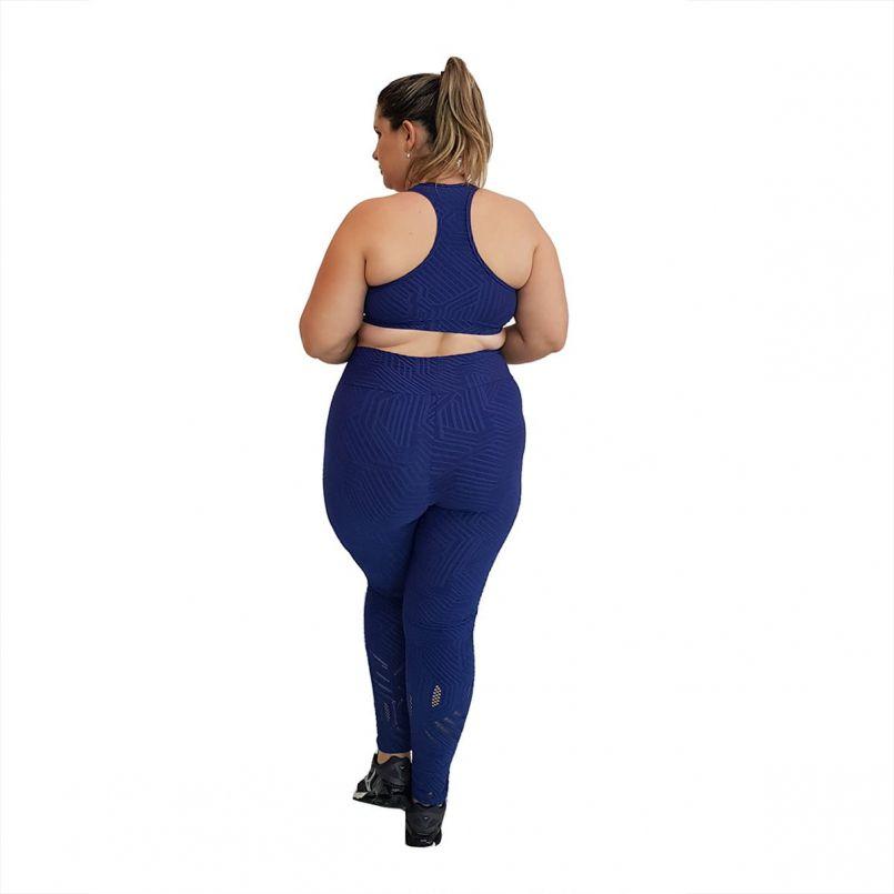 Calça Legging Plus Size Jacquard Azul Marinho