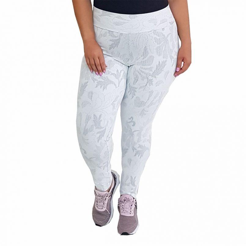 Calça Legging Plus Size Jacquard Branca