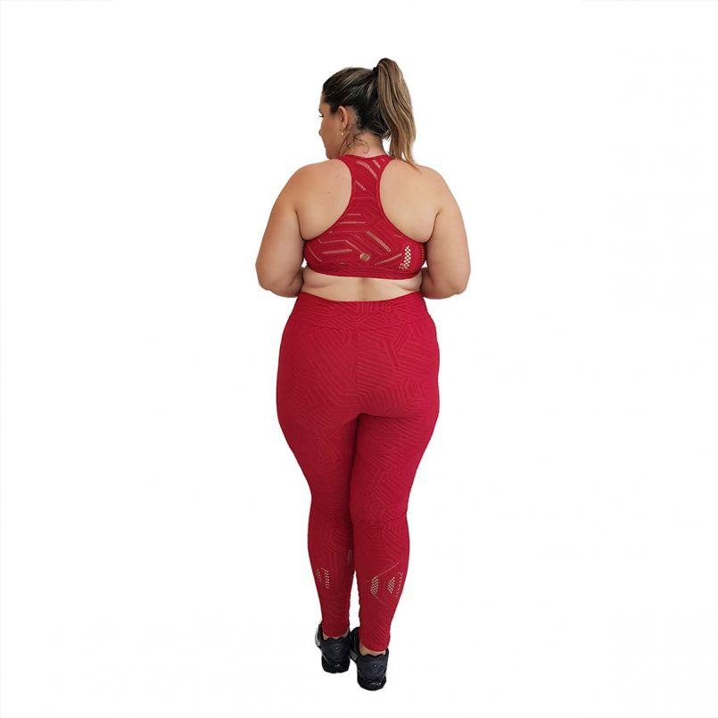 Calça Legging Plus Size Jacquard Vermelho