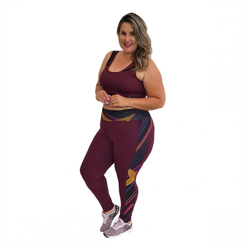 Calça Legging Plus Size New Zealand Marsala