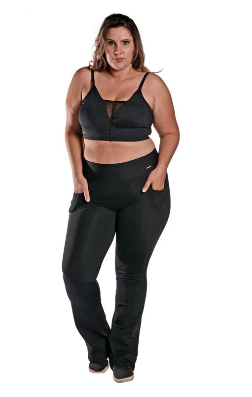 Kit Camiseta Plus Size New Trip + Calça Bailarina + Top Tule