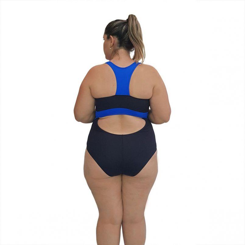 Maiô Natação Light Plus Size Preto e Azul Bic