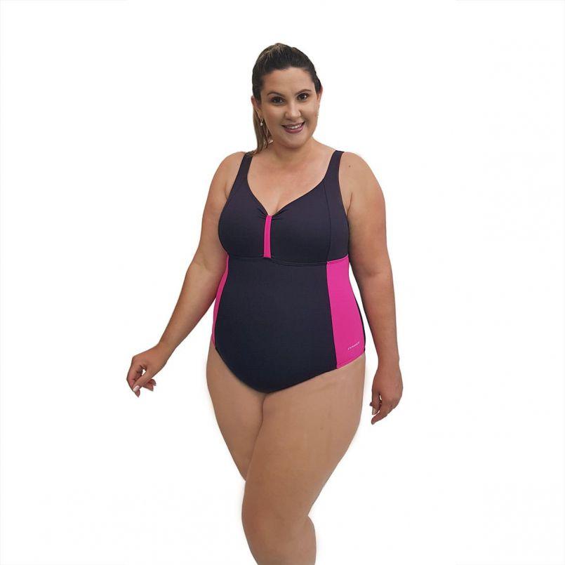 Maiô Natação Light Plus Size Preto e Pink com Sustentação