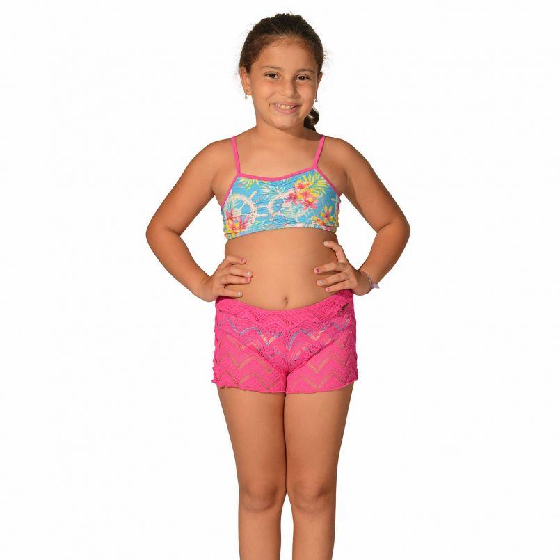 Short Infantil de Renda Pink