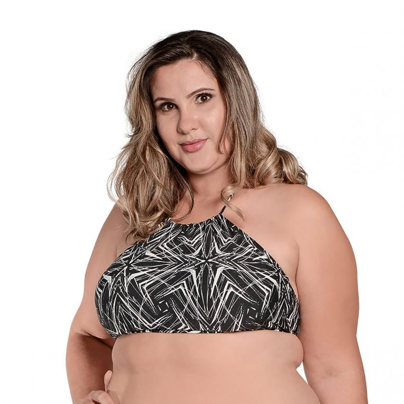 Top Cropped Plus Size Preto Branco