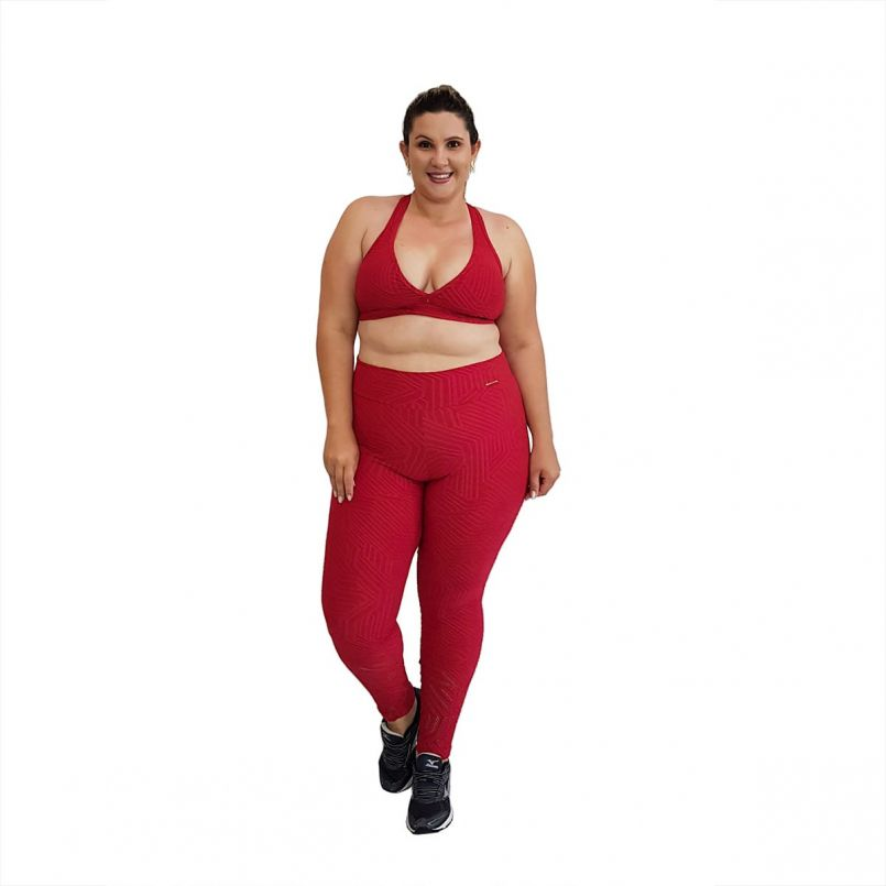 Top Plus Size Jacquard Vermelho