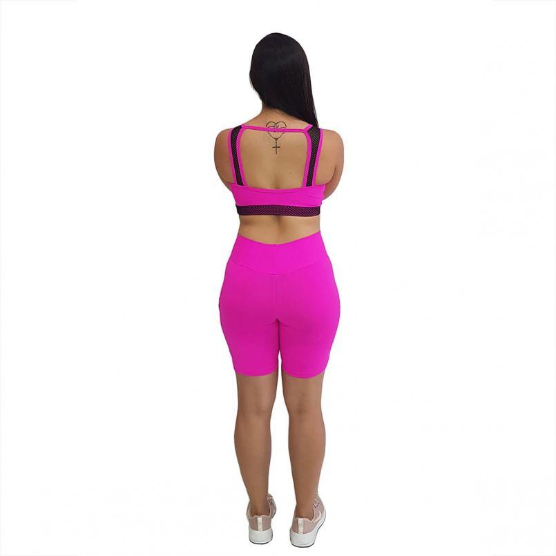 Top Suplex Pink Tela Preta