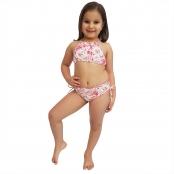 Foto 1 Biquíni Infantil Cropped e Calcinha Larga com Franzido nas Laterais Borboleta