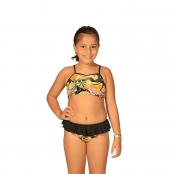 Foto 1 Biquíni Infantil Top Franzido Frontal com Alças Finas e Calcinha com Babado Salada de Fruta