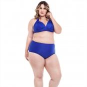 Foto 1 Biquíni Plus Size Frente Única com Bojo e Alças Largas e Calcinha Hot Pants Azul Bic