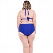 Foto 2 Biquíni Plus Size Frente Única com Bojo e Alças Largas e Calcinha Hot Pants Azul Bic