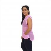 Foto 2 Blusa em Tela Sem Mangas com Capuz e Bolsos Rosa Fluorescente